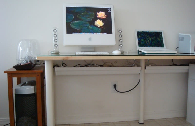 Glass desk cable management tips