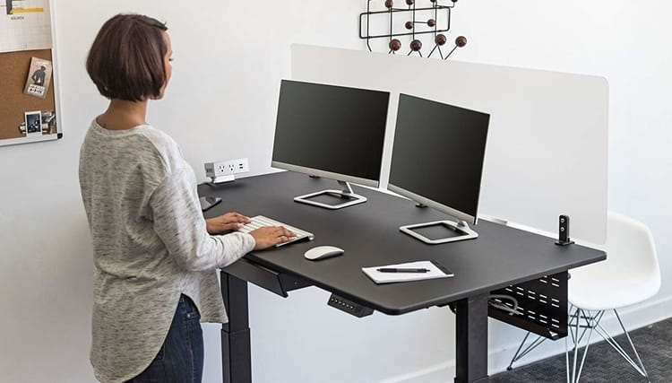 Desk cable management with raceway for standing desk