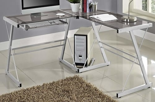 We furniture smoke glass corner desk